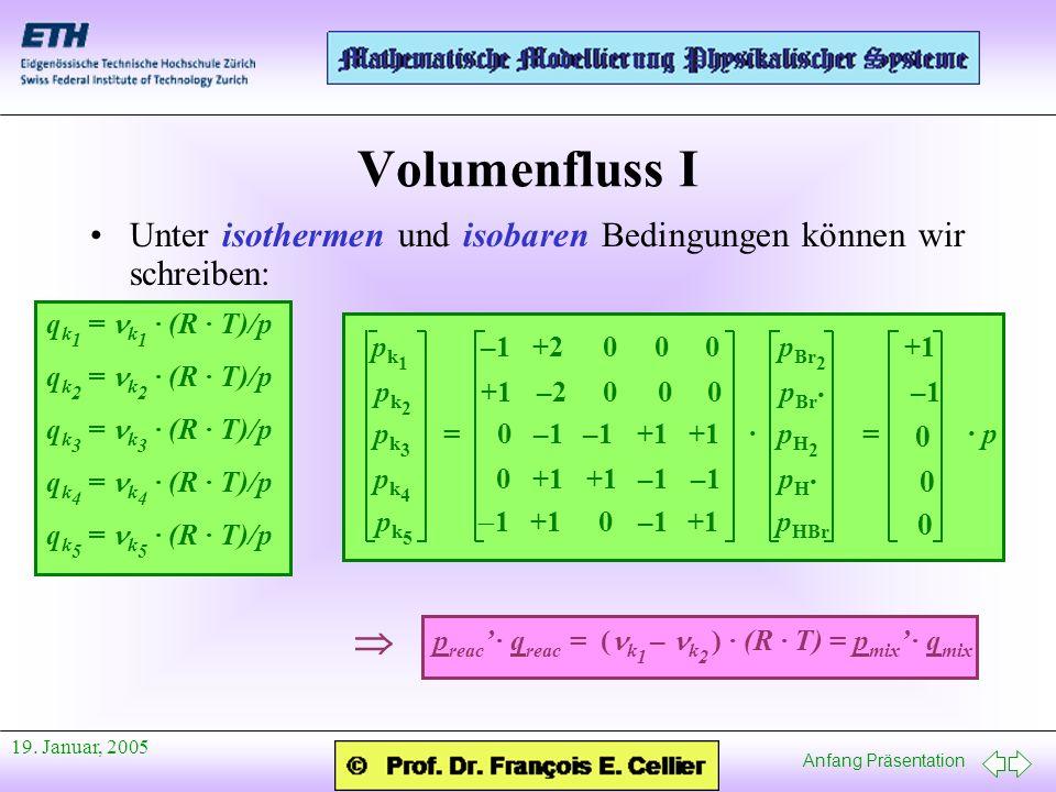 Volumenfluss I Unter isothermen und isobaren Bedingungen können wir schreiben: qk1 = nk1 · (R · T)/p.