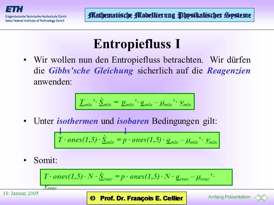 Entropiefluss I Wir wollen nun den Entropiefluss betrachten. Wir dürfen die Gibbs'sche Gleichung sicherlich auf die Reagenzien anwenden: