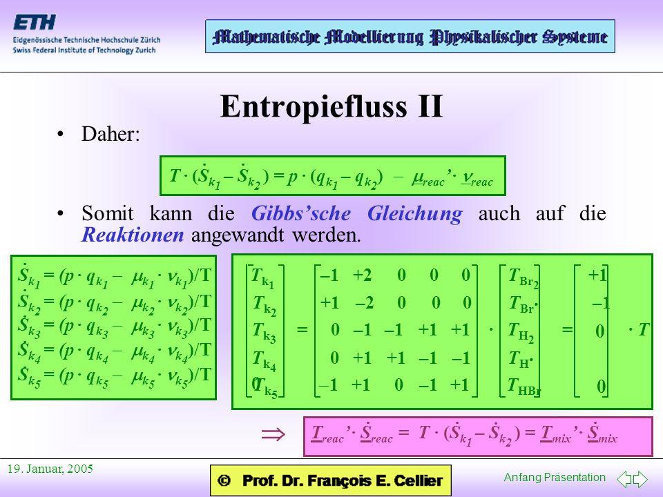 Entropiefluss II  Daher: