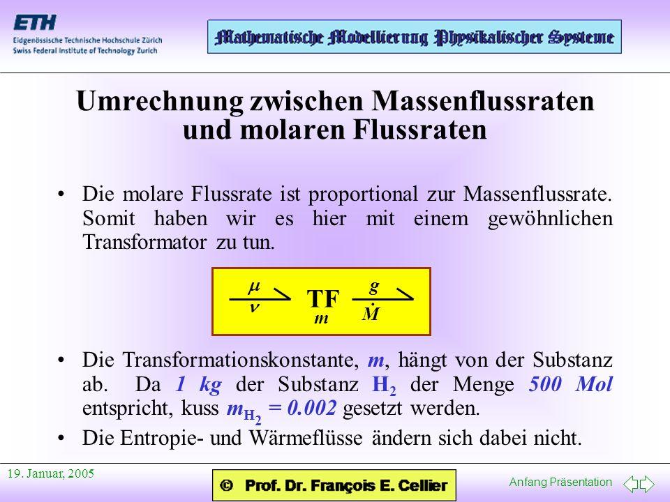 Umrechnung zwischen Massenflussraten und molaren Flussraten