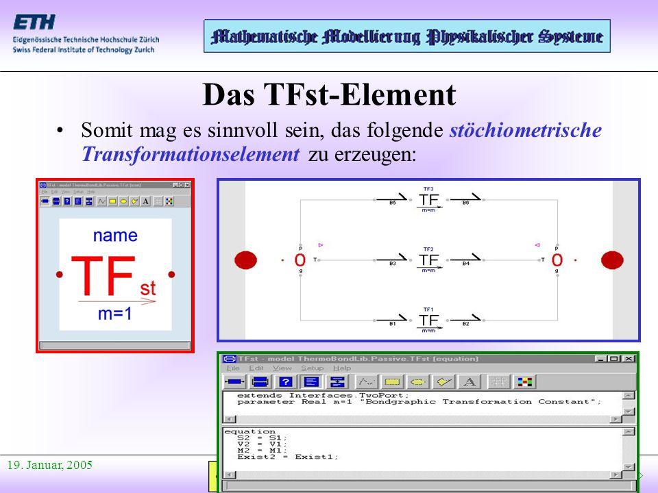 Das TFst-Element Somit mag es sinnvoll sein, das folgende stöchiometrische Transformationselement zu erzeugen:
