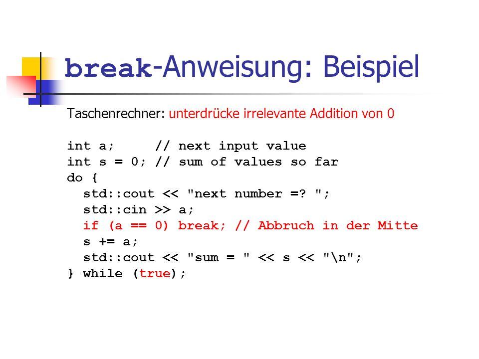 break-Anweisung: Beispiel