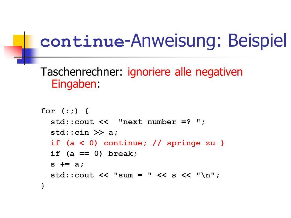 continue-Anweisung: Beispiel