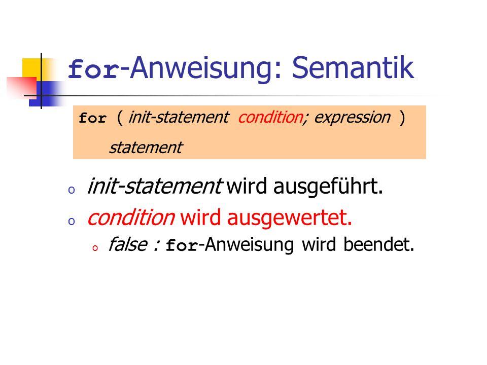for-Anweisung: Semantik