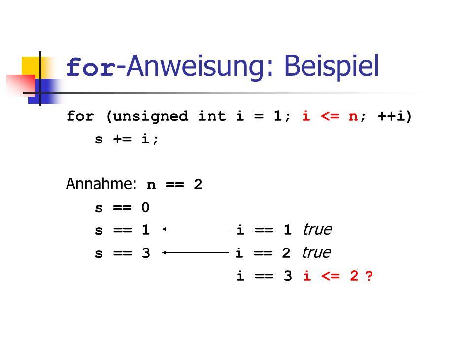 for-Anweisung: Beispiel