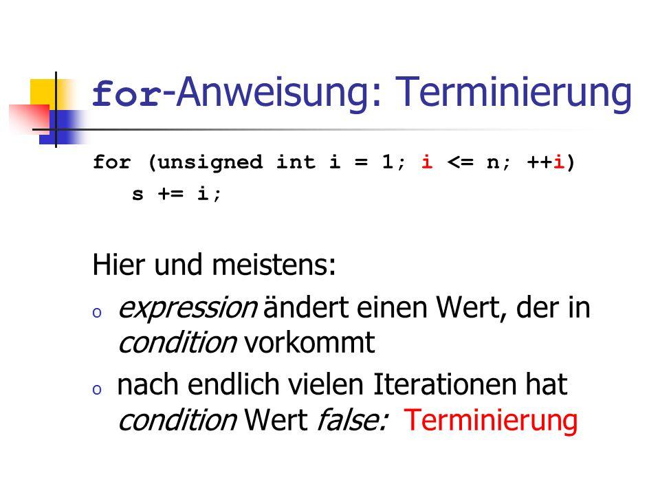 for-Anweisung: Terminierung