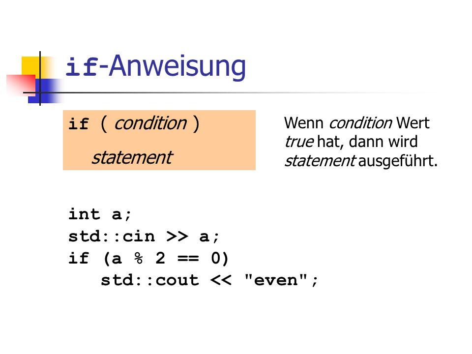 if-Anweisung if ( condition ) statement int a; std::cin >> a;
