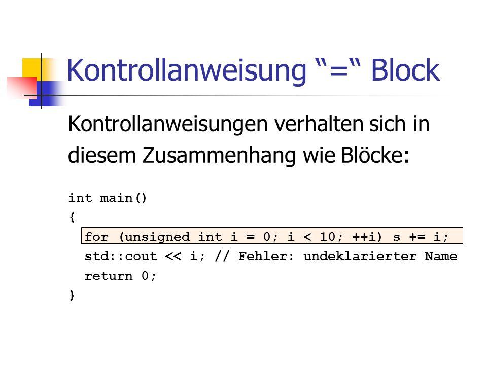 Kontrollanweisung = Block