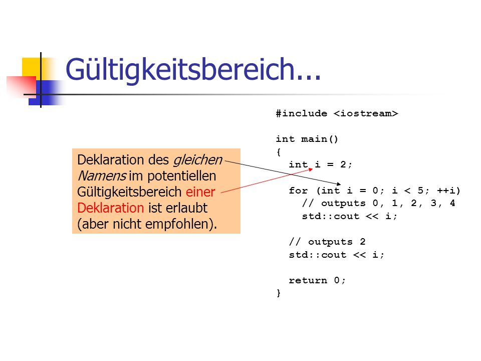 Gültigkeitsbereich... #include <iostream> int main() { int i = 2; for (int i = 0; i < 5; ++i) // outputs 0, 1, 2, 3, 4.