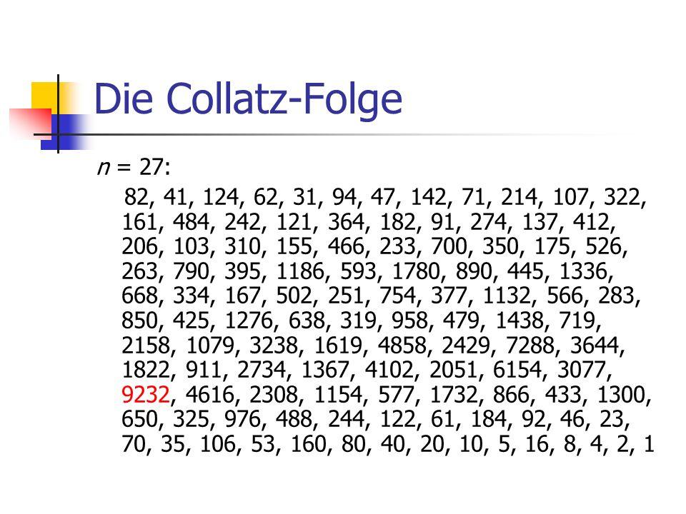 Die Collatz-Folge n = 27: