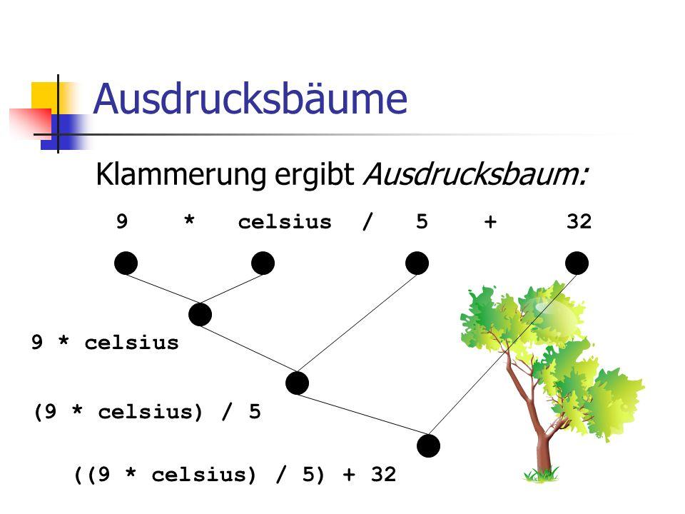 Ausdrucksbäume Klammerung ergibt Ausdrucksbaum: 9 * celsius / 5 + 32