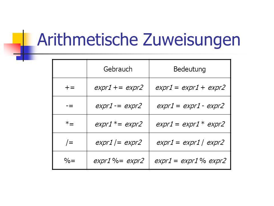 Arithmetische Zuweisungen