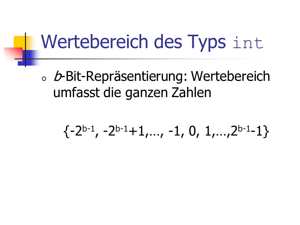 Wertebereich des Typs int