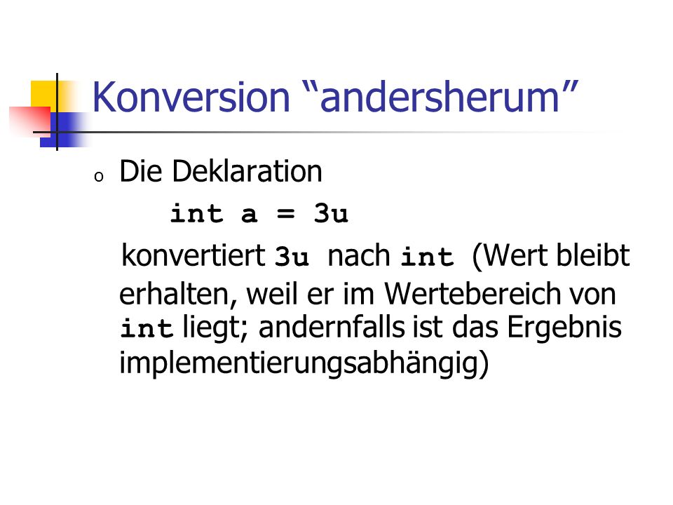 Konversion andersherum