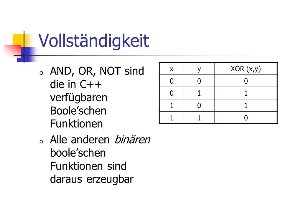 Vollständigkeit AND, OR, NOT sind die in C++ verfügbaren Boole'schen Funktionen. Alle anderen binären boole'schen Funktionen sind daraus erzeugbar.