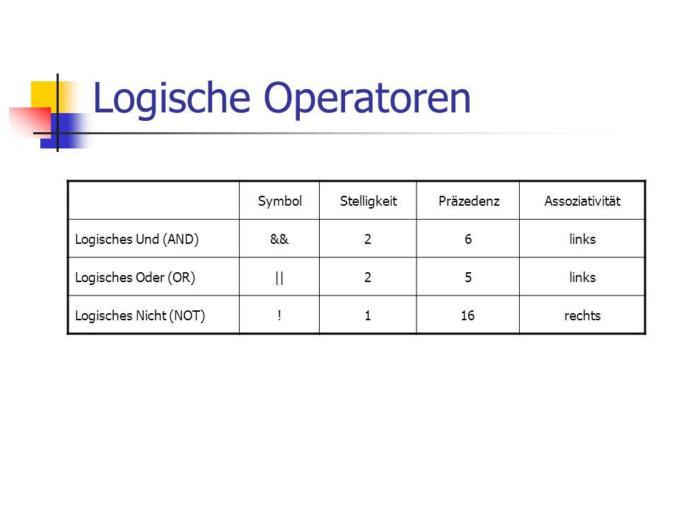 Logische Operatoren Symbol Stelligkeit Präzedenz Assoziativität