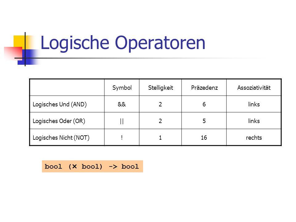 Logische Operatoren bool (× bool) -> bool Symbol Stelligkeit