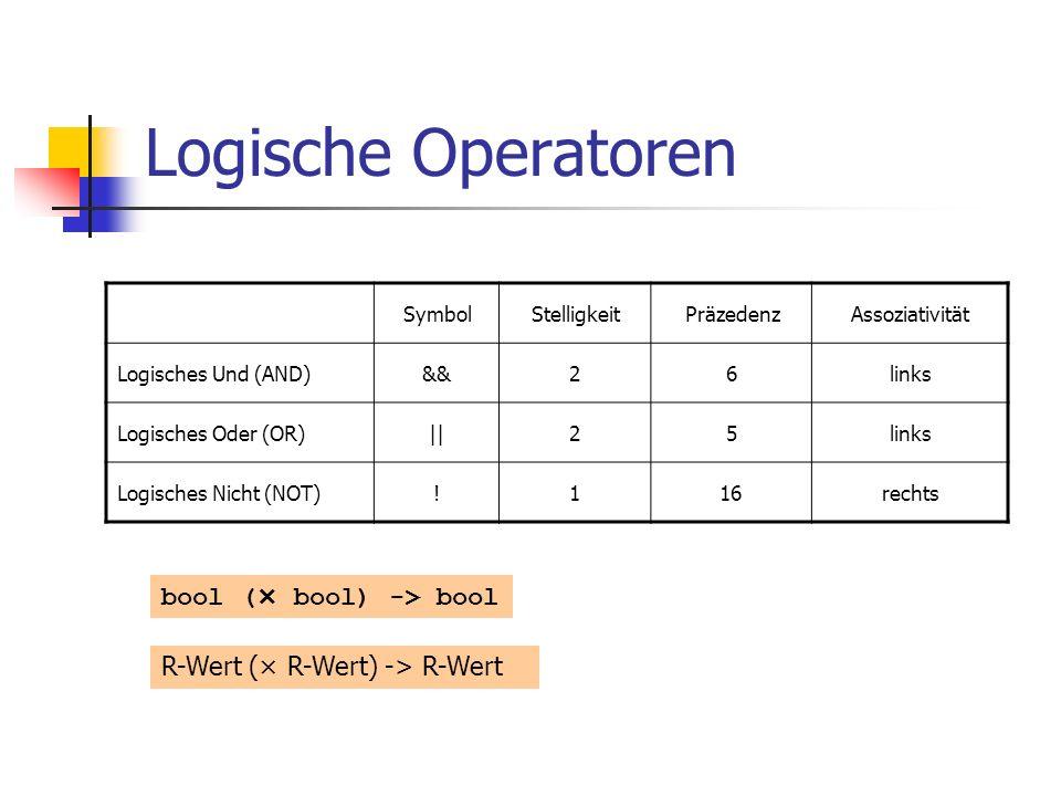 Logische Operatoren bool (× bool) -> bool