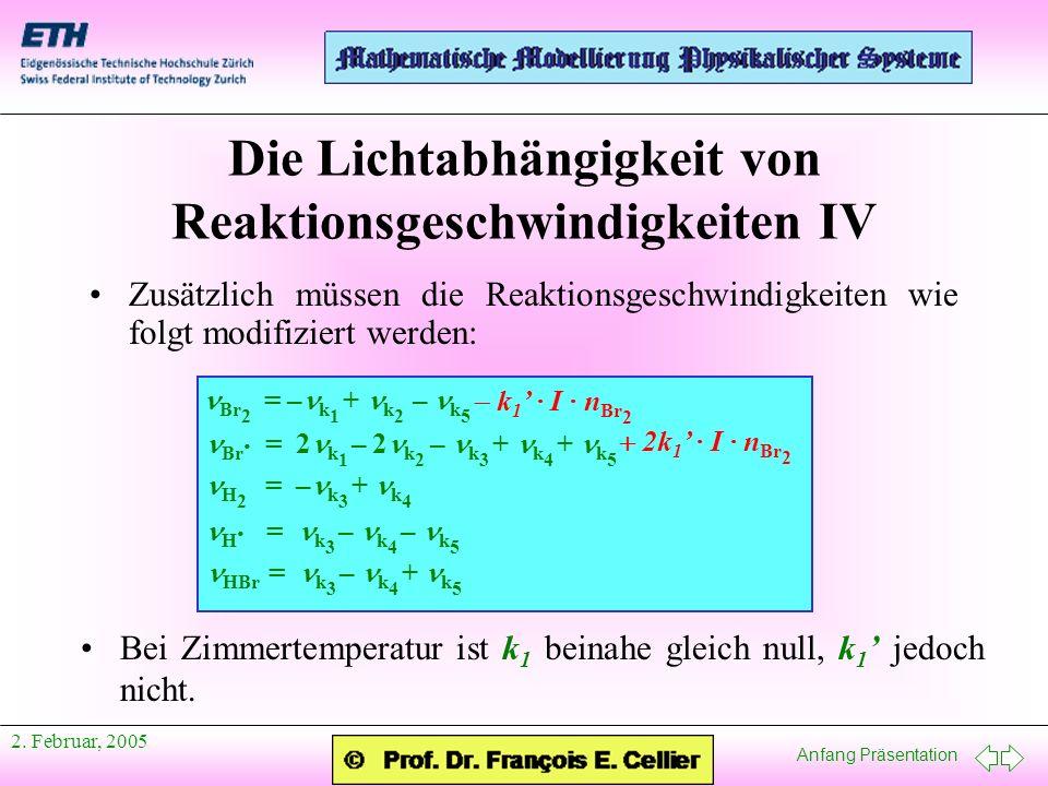 Die Lichtabhängigkeit von Reaktionsgeschwindigkeiten IV