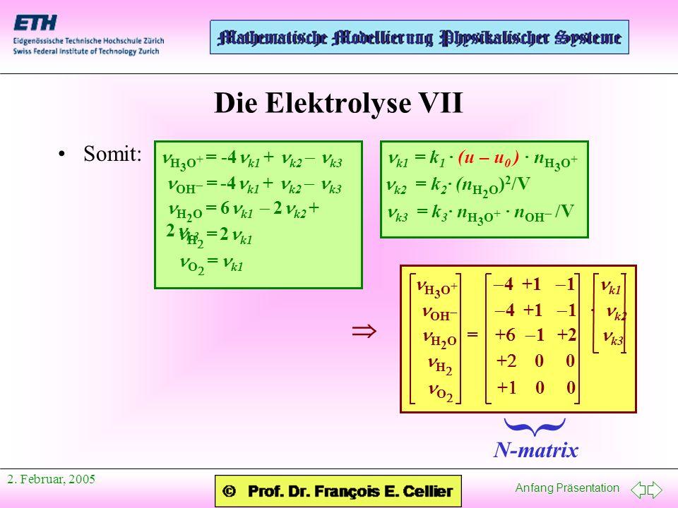 } Die Elektrolyse VII  Somit: N-matrix nH3O+ = -4nk1 + nk2 - nk3