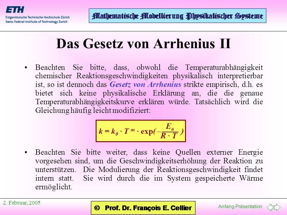 Das Gesetz von Arrhenius II