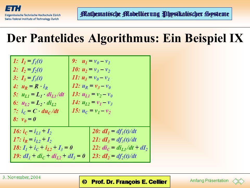 Der Pantelides Algorithmus: Ein Beispiel IX