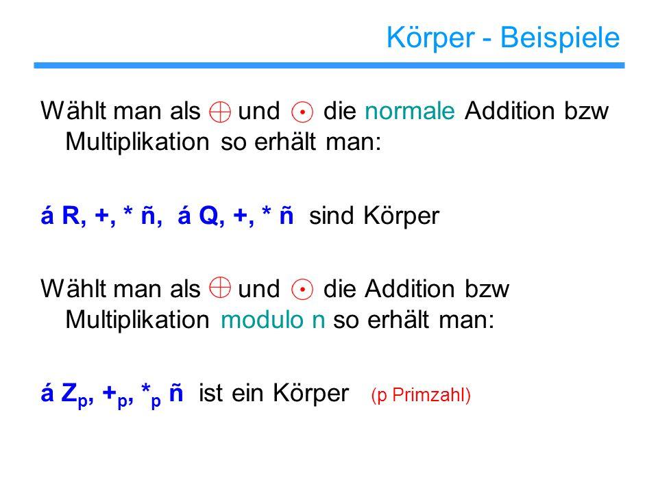 Körper - Beispiele Wählt man als und die normale Addition bzw Multiplikation so erhält man: