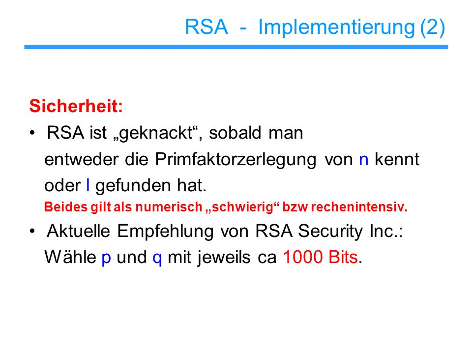 RSA - Implementierung (2)