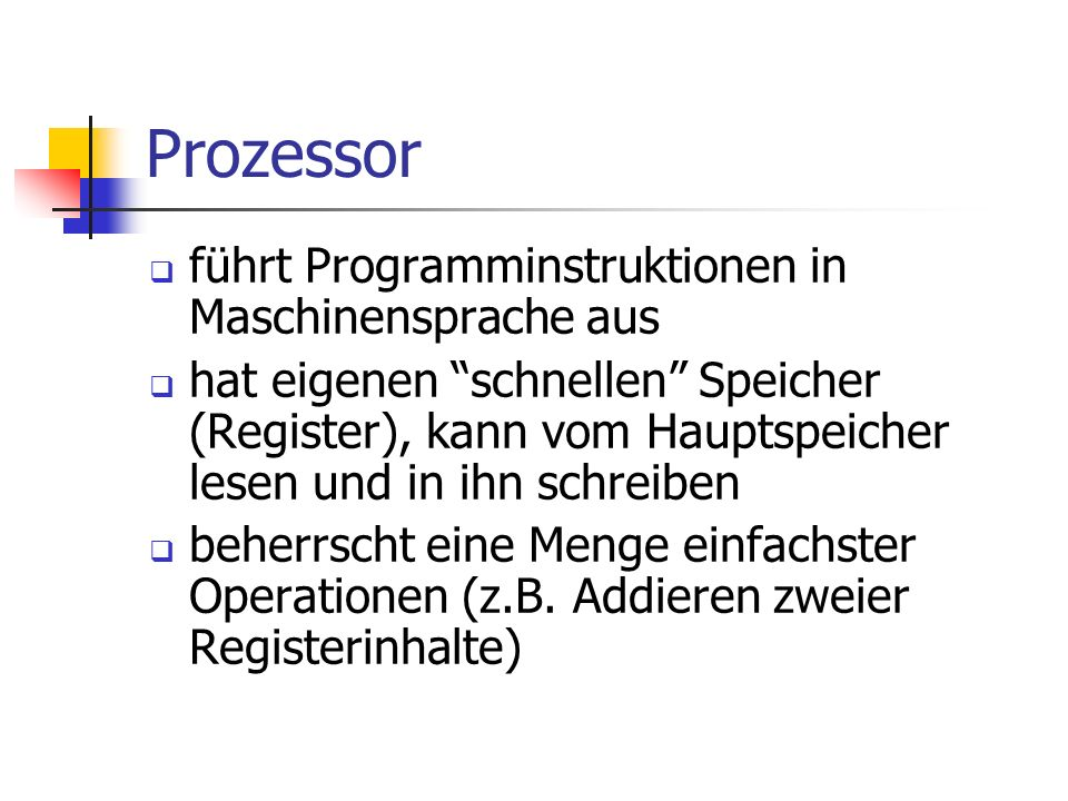 Prozessor führt Programminstruktionen in Maschinensprache aus