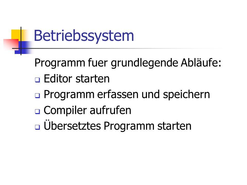 Betriebssystem Programm fuer grundlegende Abläufe: Editor starten