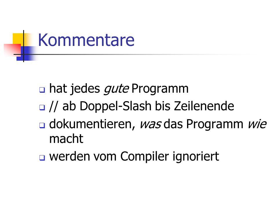Kommentare hat jedes gute Programm // ab Doppel-Slash bis Zeilenende