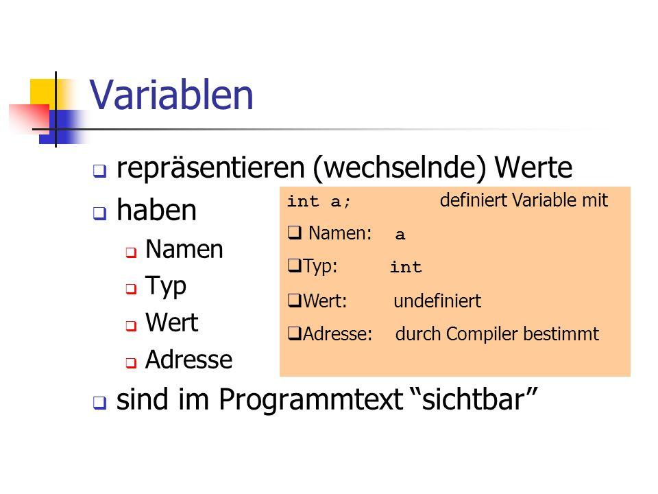 Variablen repräsentieren (wechselnde) Werte haben