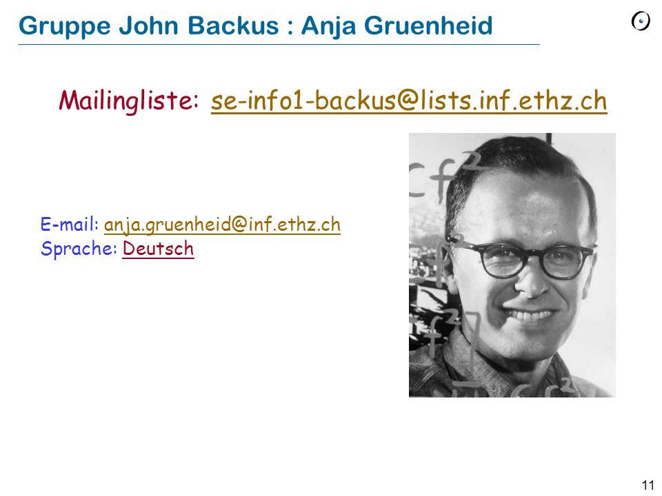 Gruppe John Backus : Anja Gruenheid