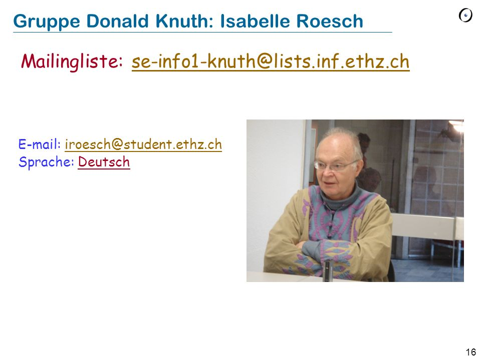 Gruppe Donald Knuth: Isabelle Roesch