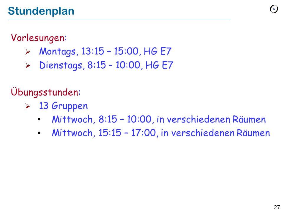 Stundenplan Vorlesungen: Montags, 13:15 – 15:00, HG E7