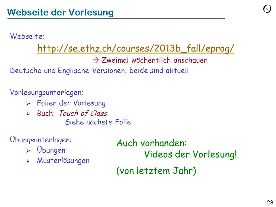 Webseite der Vorlesung