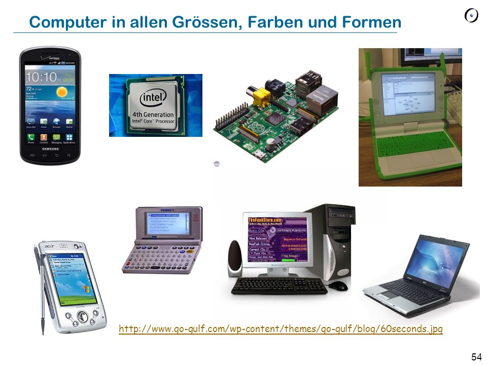 Computer in allen Grössen, Farben und Formen