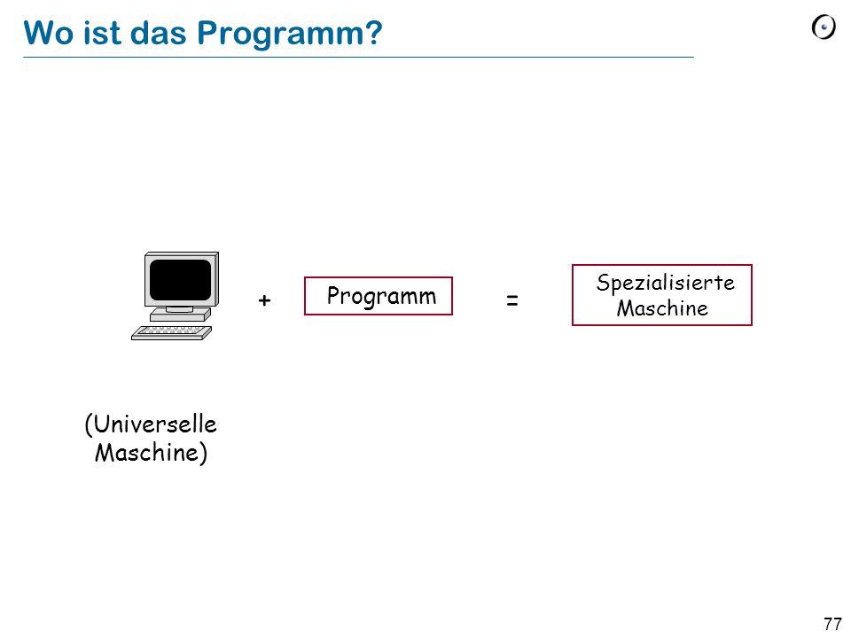 Wo ist das Programm + = Programm (Universelle Maschine)