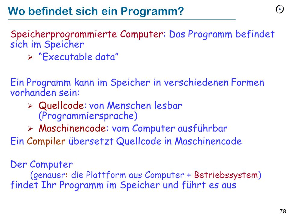 Wo befindet sich ein Programm