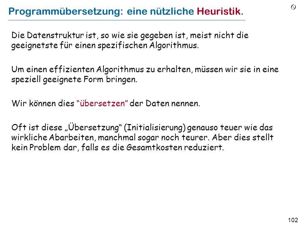 Programmübersetzung: eine nützliche Heuristik.