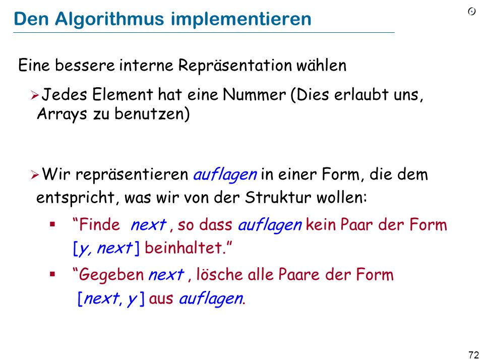 Den Algorithmus implementieren
