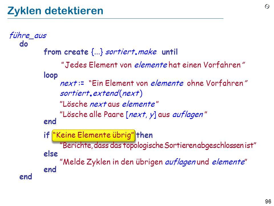 Zyklen detektieren führe_aus do from create {...} sortiert.make until