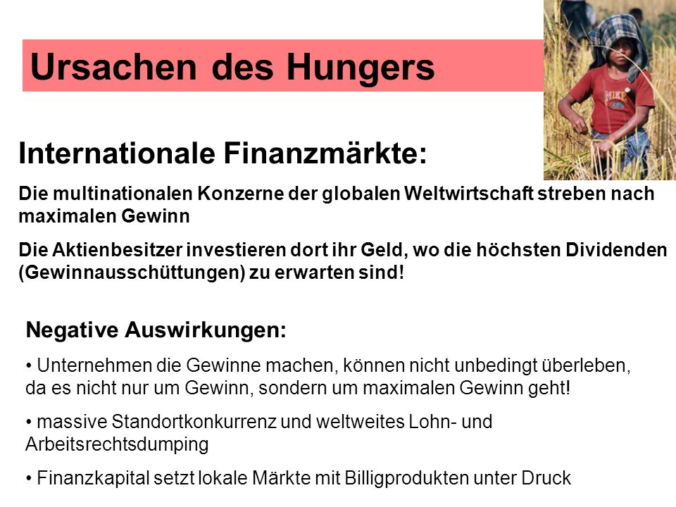 Ursachen des Hungers Internationale Finanzmärkte: