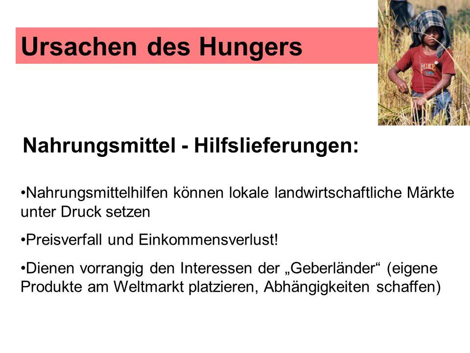 Ursachen des Hungers Nahrungsmittel - Hilfslieferungen: Nahrungsmittelhilfen können lokale landwirtschaftliche Märkte unter Druck setzen.