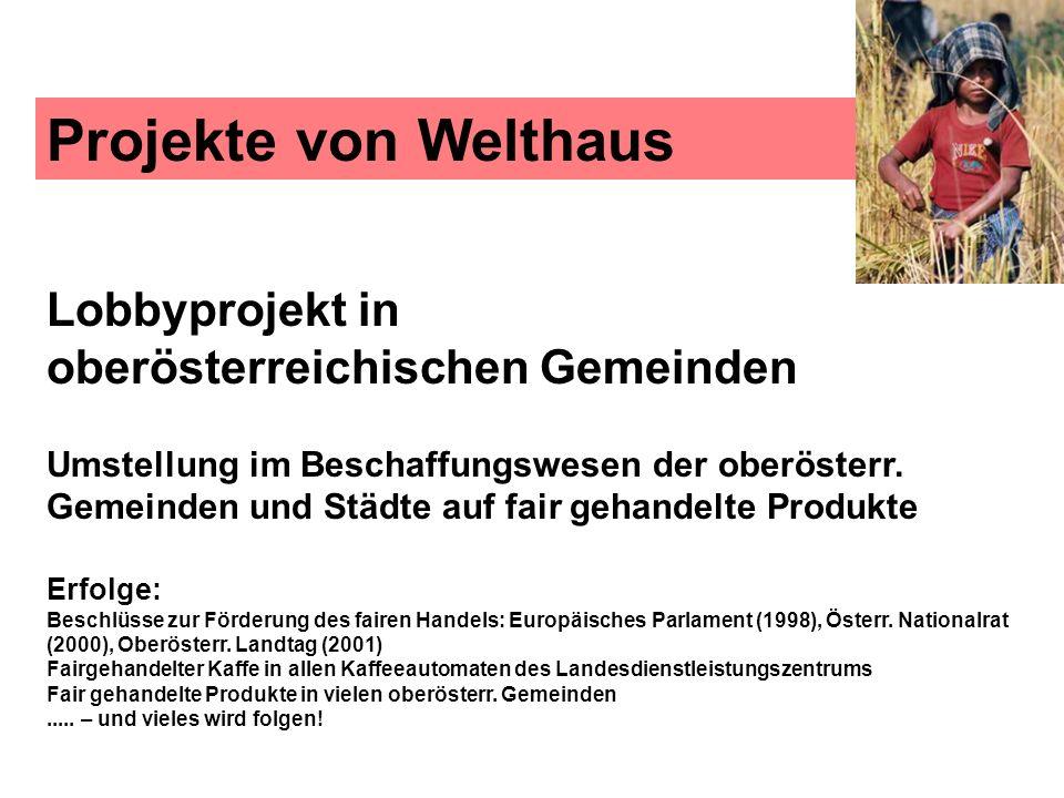Projekte von Welthaus Lobbyprojekt in oberösterreichischen Gemeinden