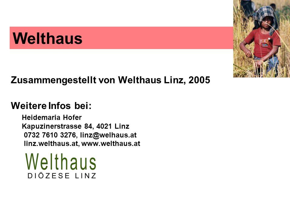 Welthaus Zusammengestellt von Welthaus Linz, 2005 Weitere Infos bei: