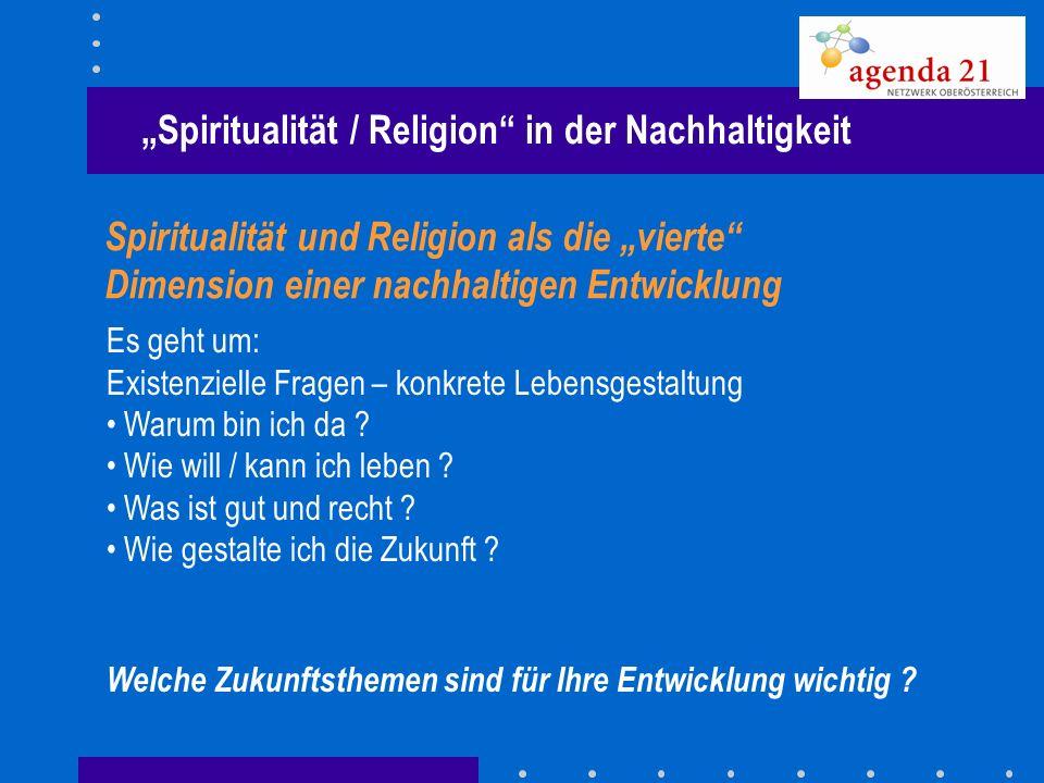 """""""Spiritualität / Religion in der Nachhaltigkeit"""