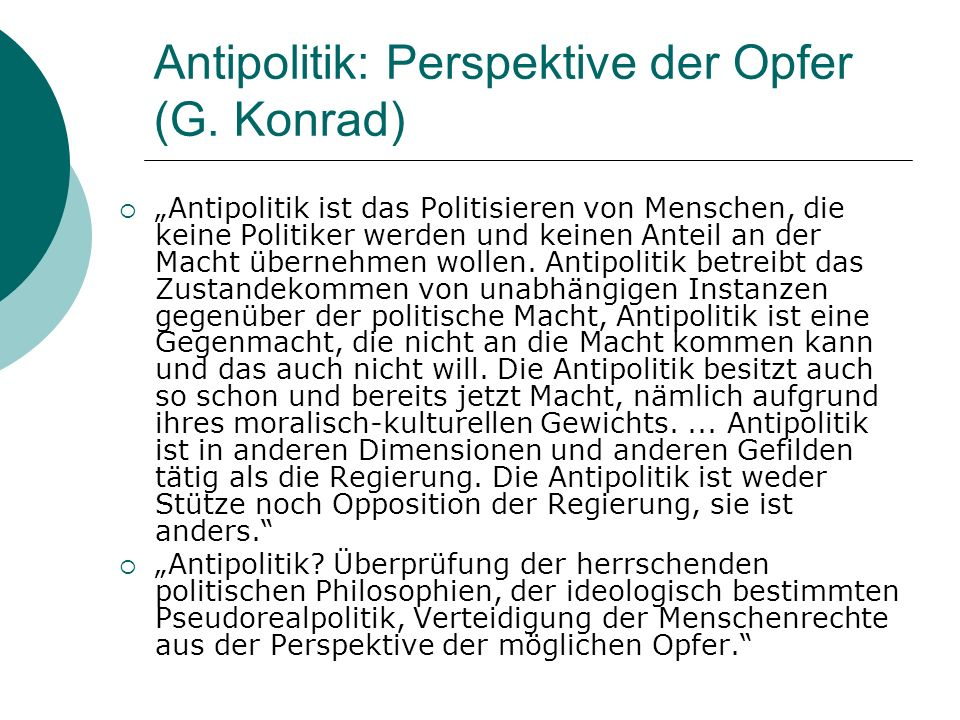 Antipolitik: Perspektive der Opfer (G. Konrad)