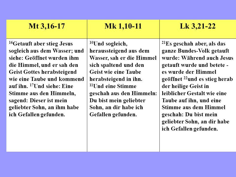 Mt 3,16-17 Mk 1,10-11. Lk 3,21-22.