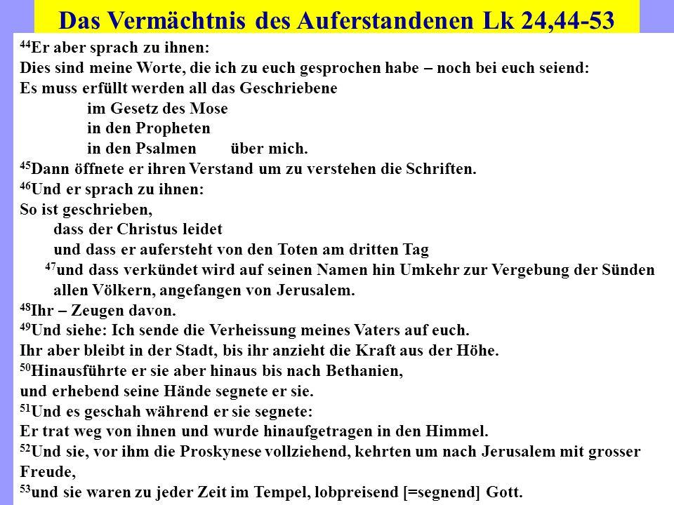 Das Vermächtnis des Auferstandenen Lk 24,44-53